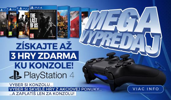 MEGA v�predaj PlayStation 4 konzol. Z�skajte a� tri hry zdarma ku konzole!