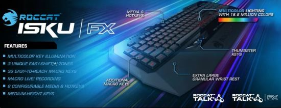 Roccat Isku FX Multicolor Gaming Keyboard US
