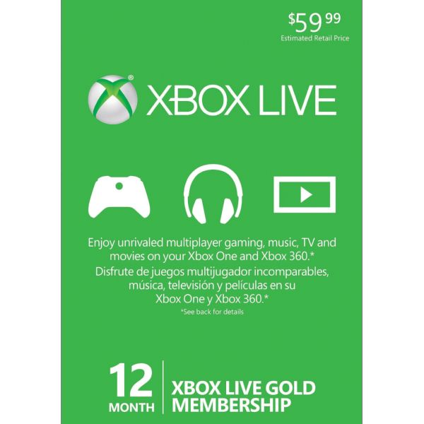 12 month Xbox LIVE Gold Membership US