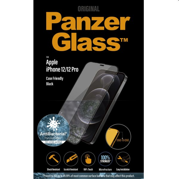 Ochranné temperované sklo PanzerGlass Case Friendly pre Apple iPhone 12/12 Pro, čierne