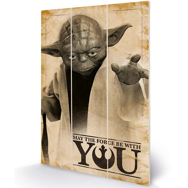 Obraz Wood Print Yoda May The Force (Star Wars) MW11809P