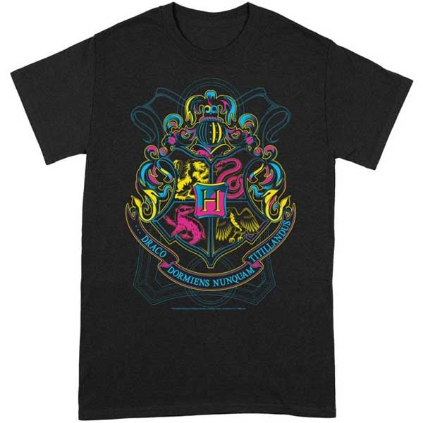 Neon Hogwarts Crest T Shirt (Harry Potter) XXL