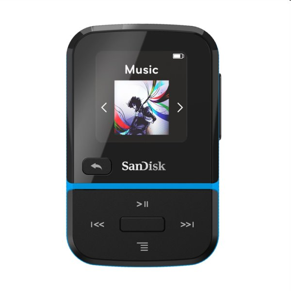 Prehrávač SanDisk MP3 Clip Sport Go 32 GB, modrý SDMX30-032G-E46B