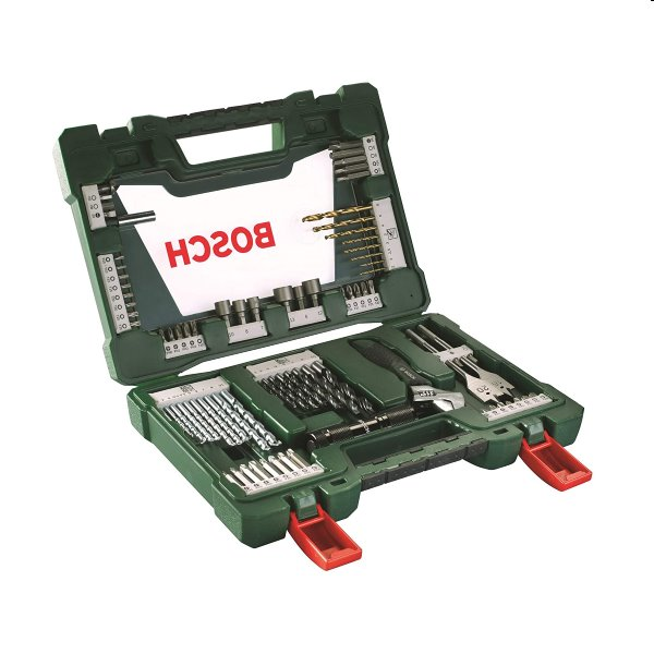 Bosch 83 dielna sada titánových vrtákov a skrutkovacích bitov s LED lampou a francúzskym kľúčom V-Line 2607017193