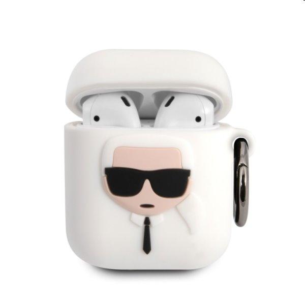 Karl Lagerfeld Karl Head silikónový obal pre Apple AirPods 1/2, biely