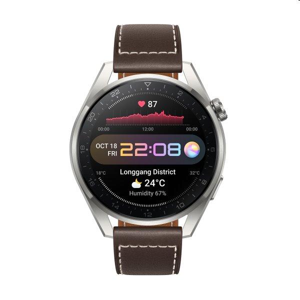 Luxusné smart hodinky – Huawei Watch 3 Pro, brown