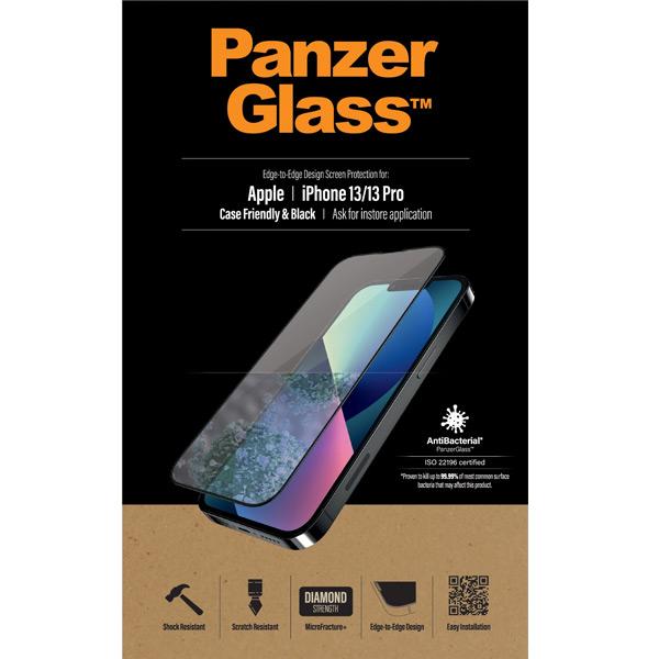 Ochranné temperované sklo PanzerGlass Case Friendly pre Apple iPhone 13/13 Pro, čierne