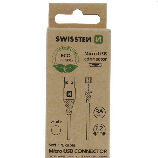 Swissten Data Cable Textile USB / Micro USB 1.2 m, biely, eco balenie 71504300ECO