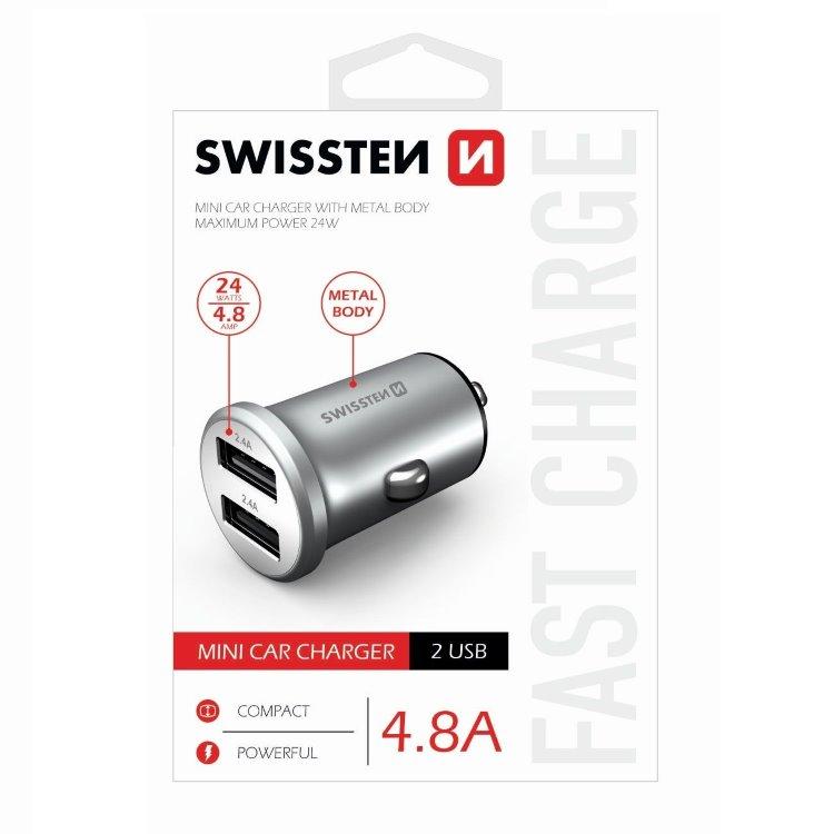 Autonabíjačka Swissten kovová 4.8A s 2 USB slotmi, Silver