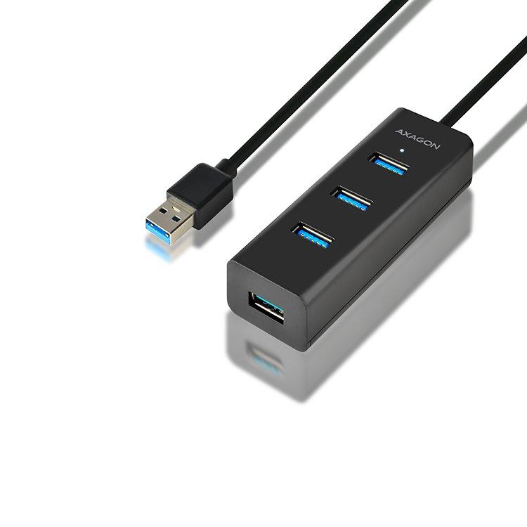 AXAGON HUE-S2BL 4x USB 3.0 hub s podporou rýchlonabíjania HUE-S2BL