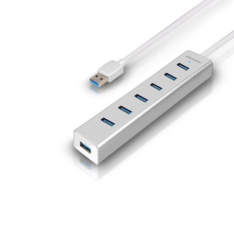 AXAGON HUE-SA7SP 7x USB 3.0 hub s podporou rýchlonabíjania, Silver HUE-SA7SP