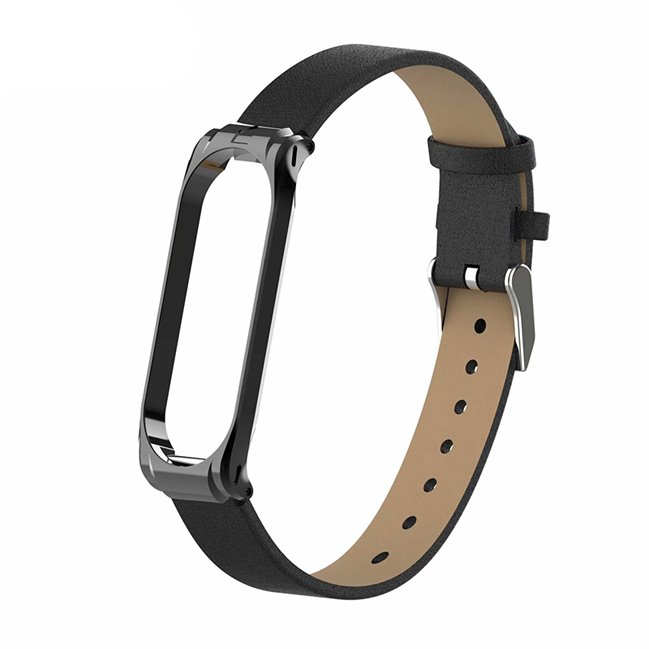Leather Strap for Xiaomi MiBand 3/4, black
