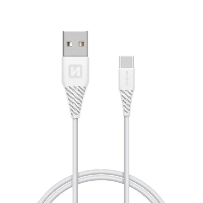 Dátový kábel Swissten s predĺženým USB-C konektorom pre odolné telefóny, biely