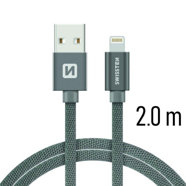 Dátový kábel Swissten textilný s Lightning konektorom a podporou rýchlonabíjania, Grey
