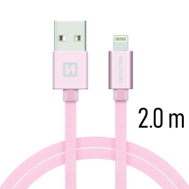 Dátový kábel Swissten textilný s Lightning konektorom a podporou rýchlonabíjania, Rose Gold