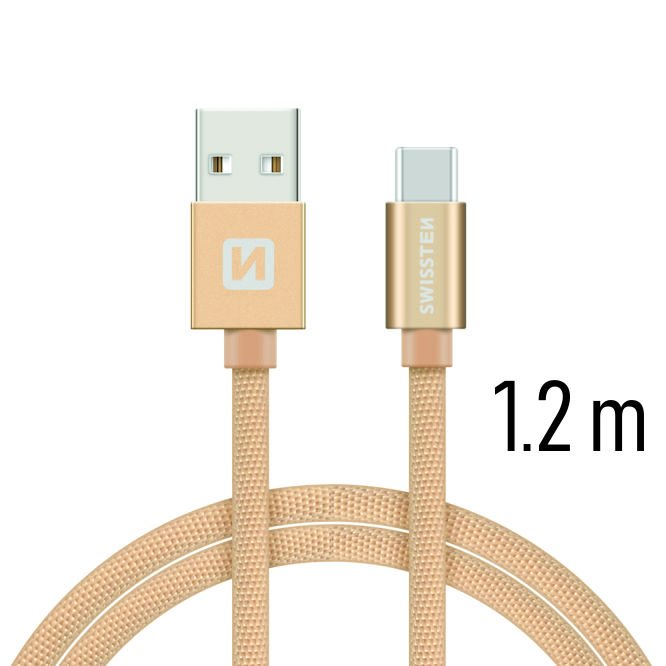 Dátový kábel Swissten textilný s USB-C konektorom a podporou rýchlonabíjania, Gold