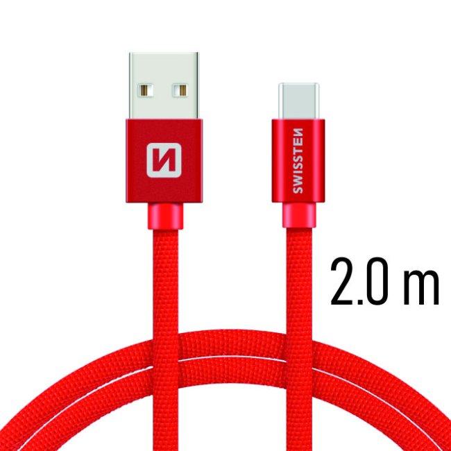 Dátový kábel Swissten textilný s USB-C konektorom a podporou rýchlonabíjania, Red
