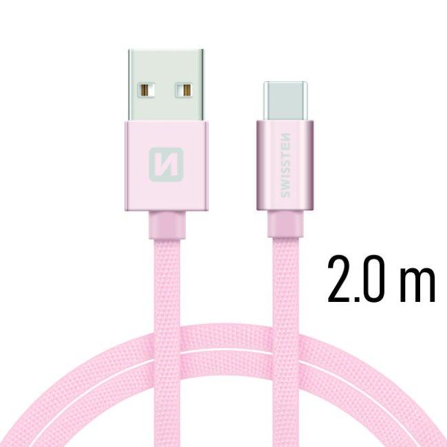 Dátový kábel Swissten textilný s USB-C konektorom a podporou rýchlonabíjania, Rose Gold