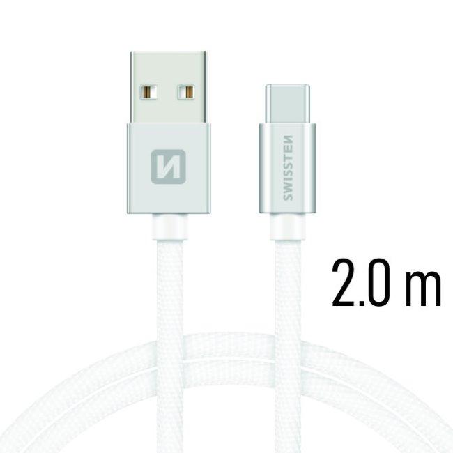 Dátový kábel Swissten textilný s USB-C konektorom a podporou rýchlonabíjania, Silver