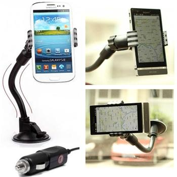 Držiak do auta (dĺžka ramena 20cm) + autonabíjačka pre Alcatel OneTouch 5042D Pop 2 (4.5)
