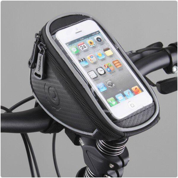 Držiak na bicykel RosWheel s brašňou (na riadidlá) pre Alcatel OneTouch 6039Y Idol 3 (4.7)