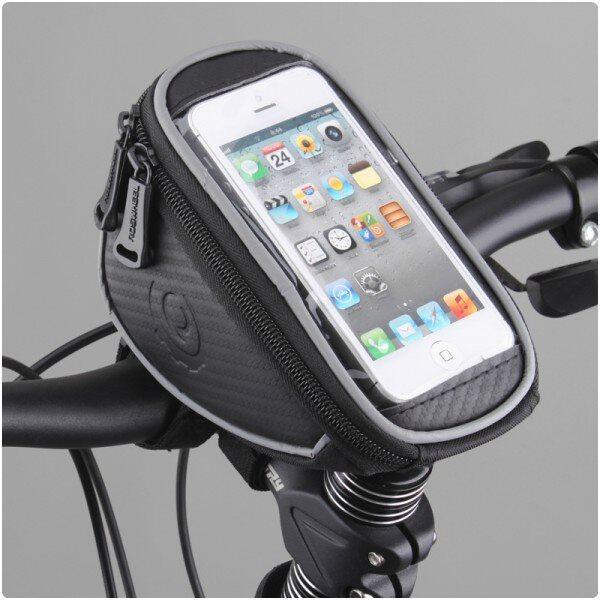Držiak na bicykel RosWheel s brašňou (na riadidlá) pre Motorola Moto E LTE 2014 2gen - XT1524