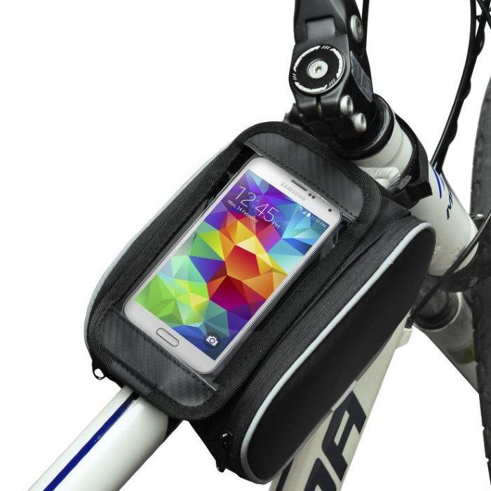 Držiak s brašňou na bicykel s dvoma vreckami pre Alcatel OneTouch 4013D PIXI 3 (4)
