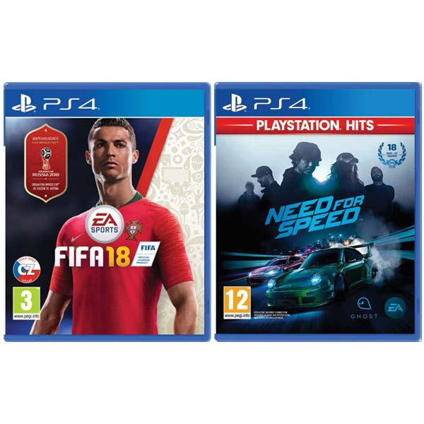 FIFA 18 CZ [PS4] + Need for Speed [PS4] - BAZÁR (použitý tovar) zmluvná záruka 12 mesiacov