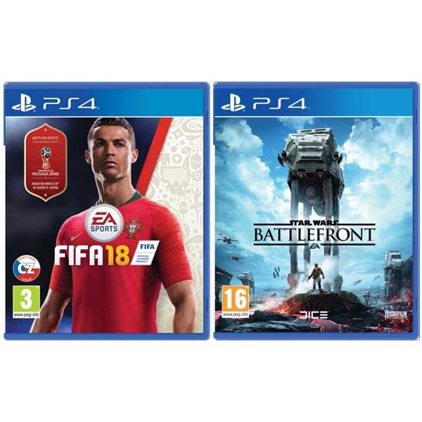 FIFA 18 CZ [PS4] + Star Wars: Battlefront [PS4] - BAZÁR (použitý tovar) zmluvná záruka 12 mesiacov