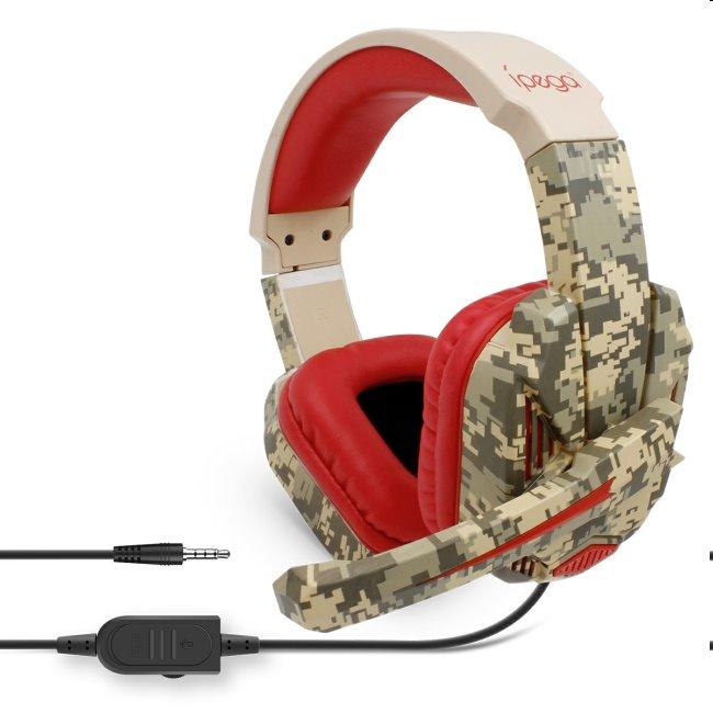 Herné slúchadlá s mikrofónom iPega R005, Red Camo