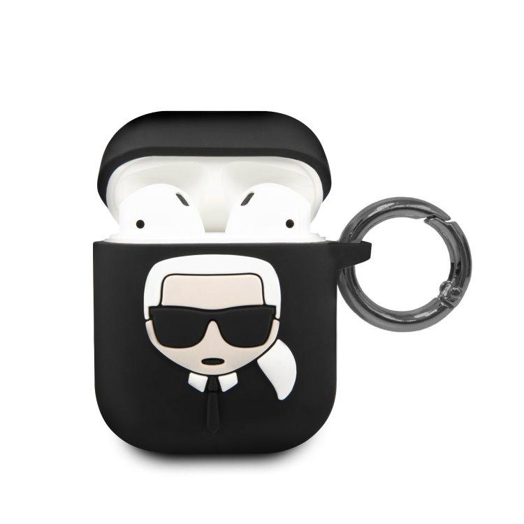 Karl Lagerfeld silikónový obal pre Apple AirPods 1/2 (KLACCSILKHBK), Black