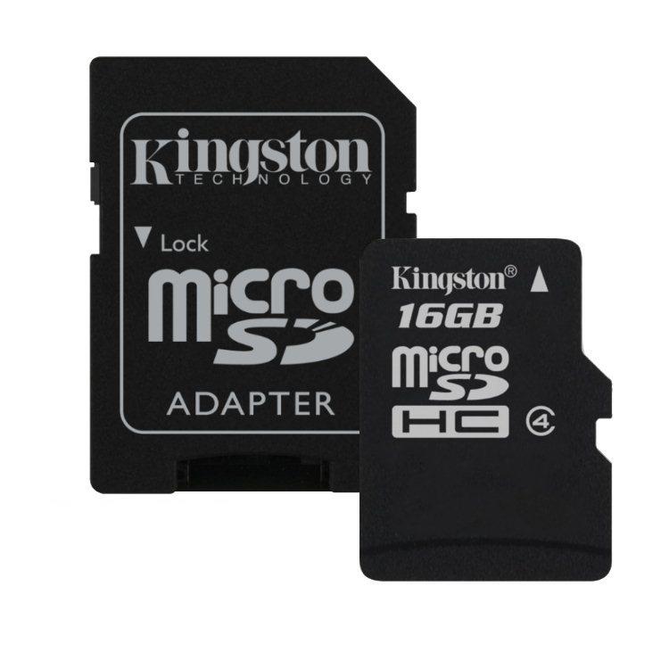 Kingston Micro SDHC 16GB + SD adaptér, Class 4 (SDC4/16GB)