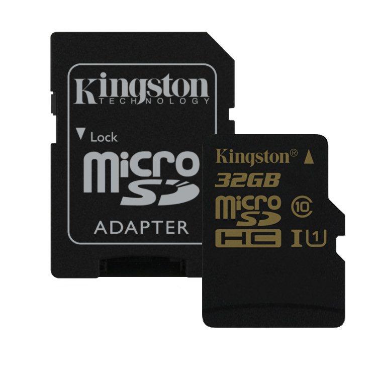Kingston Micro SDHC 32GB + SD adaptér, UHS-I, Class 10 - rýchlosť čítania 90 MB/s, zápisu 45 MB/s (SDCA10/32GB)