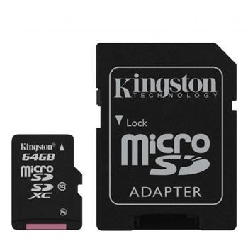 Kingston Micro SDXC 64GB + SD adaptér, Class 10 - rýchlosť 30 MB/s - OPENBOX (rozbalený tovar s plnou zárukou)