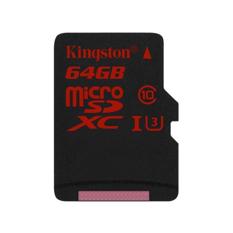 Kingston Micro SDXC 64GB, UHS-I U3 - rýchlosť čítania 90 MB/s, zápisu 80 MB/s (SDCA3/64GBSP)
