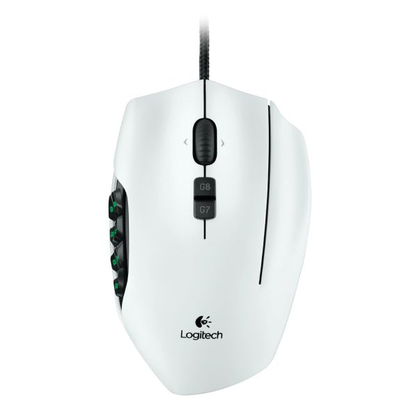 Logitech G600 MMO Gaming Mouse, white