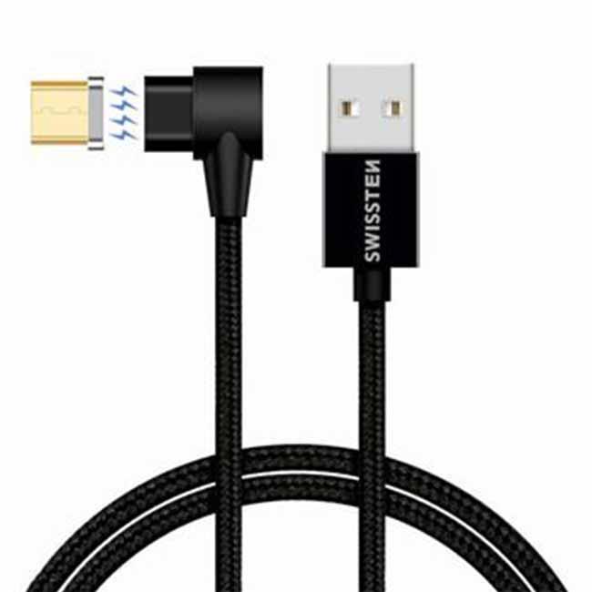 Magnetický dátový kábel Swissten Arcade textilný s Micro USB konektorom a podporou rýchlonabíjania, Black