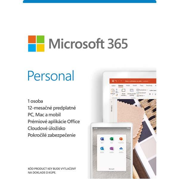 Microsoft 365 Personal - 12 mesiacov (32-bit/x64 SK) PC Code-in-a-Box