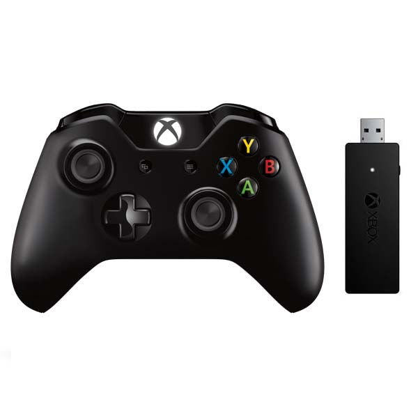 Microsoft Xbox One Wireless Controller, black + Microsoft Xbox One Wireless Adapter for Windows