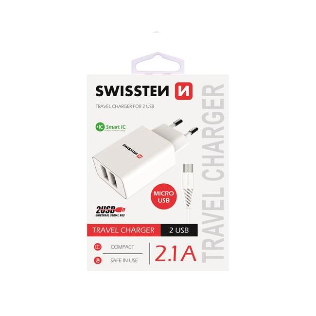 Nabíjačka Swissten Smart IC 2.1A s 2 USB konektormi a dátovým káblom USB/Micro USB, 1,2m, biela