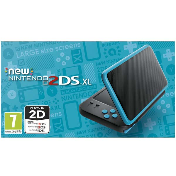 Nintendo 2DS XL, black and turquoise