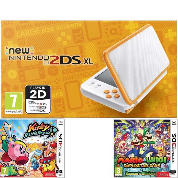 Nintendo 2DS XL, white and orange + Kirby Battle Royale + Mario & Luigi: Superstar Saga + Bowser's Minions