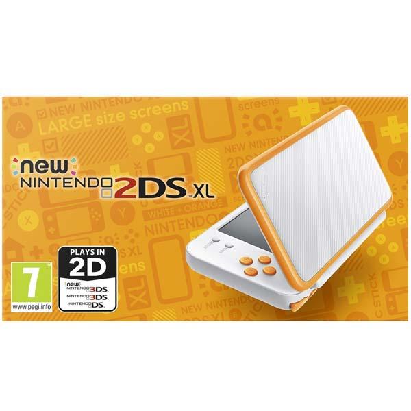 Nintendo 2DS XL, white and orange