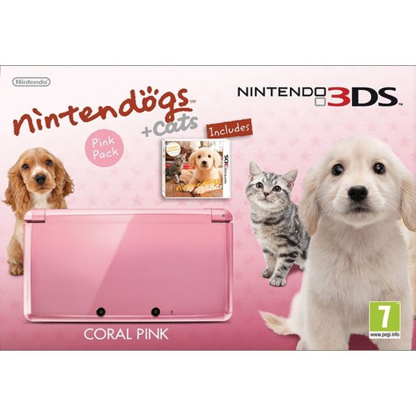 Nintendo 3DS Nintendogs & Cats Pink Pack, coral pink