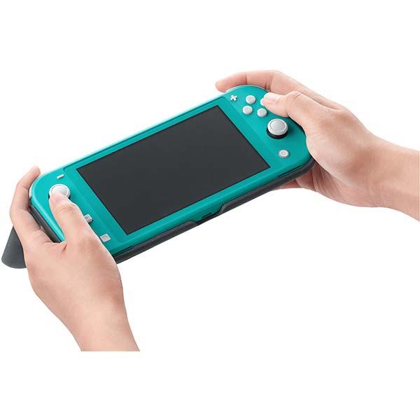 Nintendo Switch Lite preklápacie puzdro a ochranná fólia, šedé