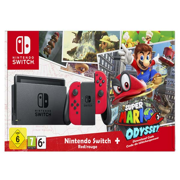 Nintendo Switch, red + Super Mario Odyssey