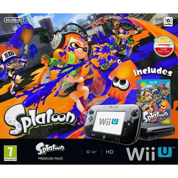 Nintendo Wii U Premium Pack Black 32 GB + Splatoon + New Super Mario Bros. U + New Super Luigi U