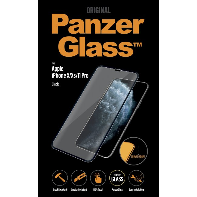 Ochranné temperované sklo PanzerGlass Case Friendly pre Apple iPhone 11 Pro/Xs/X, čierne