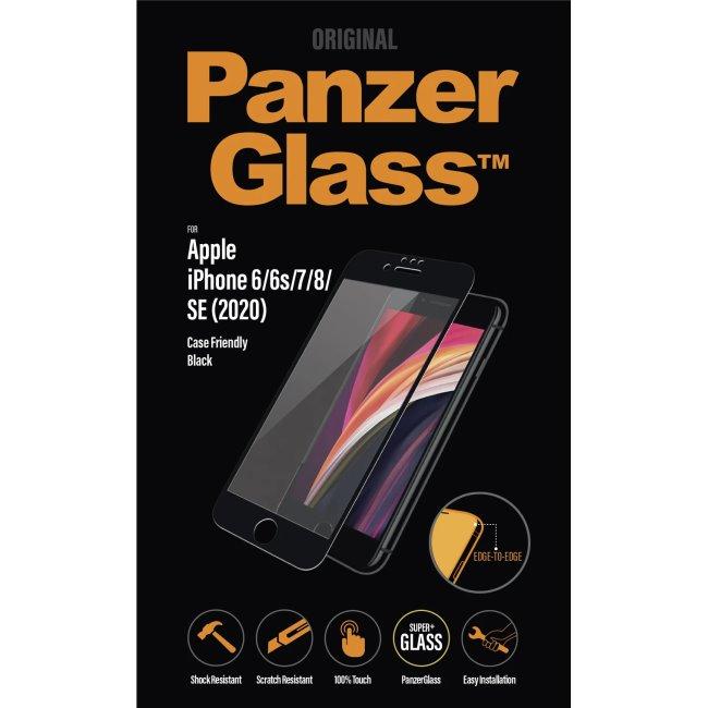 Ochranné temperované sklo PanzerGlass Case Friendly pre Apple iPhone SE a iPhone 8/7/6s/6, čierne