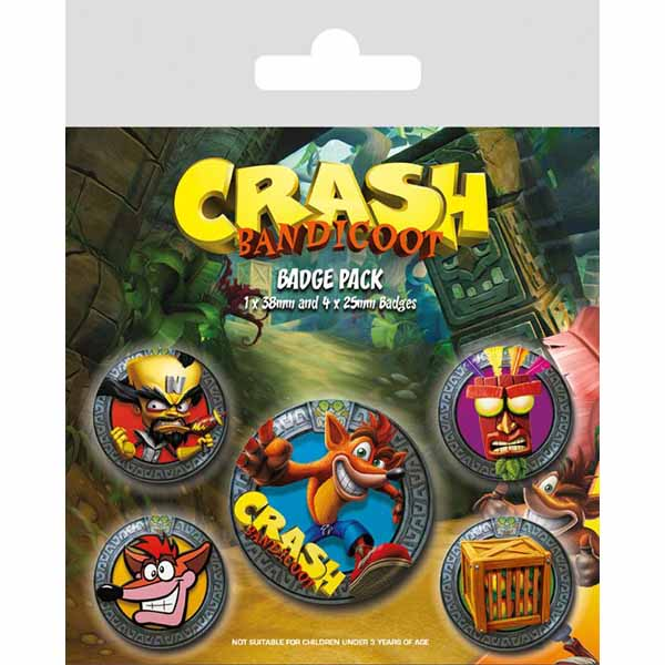 Odznaky Crash Bandicoot Pop Out 5-Pack